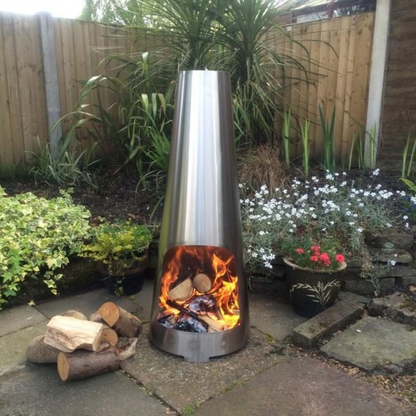 Stainless Steel Cone Chimenea Small